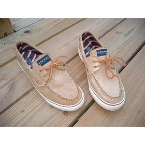 SPERRY TOP-SIDER Metallic Gold Loafer Boat Shoes
